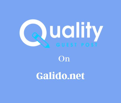 Guest Post on Galido.net