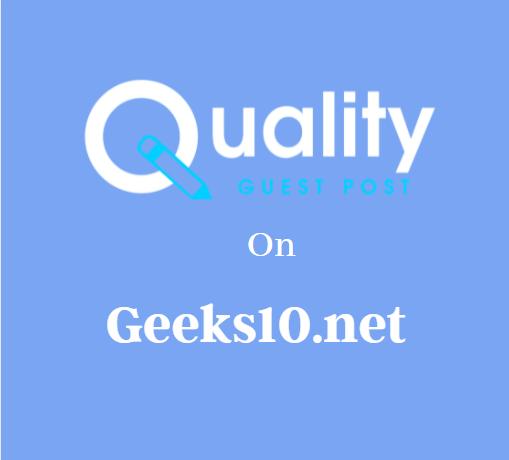 Guest Post on Geeks10.net